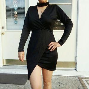 Sexy black tulip choker dress